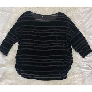 Lane Bryant   Velvet and Sheer Striped 3/4 Sleeve